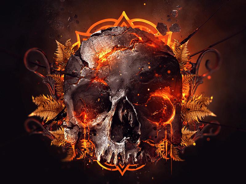 Skull Burning lava digital imaging digital art fire burning skull artworks music artwork music music app album art cover art