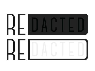 Re[dacted] concept monochromatic redact idea logo wordmark