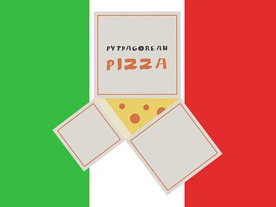 Pythagorean Pizza illustration pepperoni flag italy boxes math pizza
