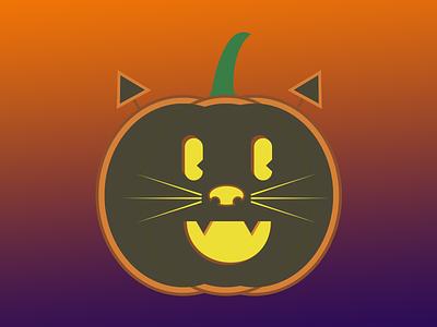 Cat-O-Lantern illustration spooky fall autumn jack-o-lantern pumpkin halloween cat
