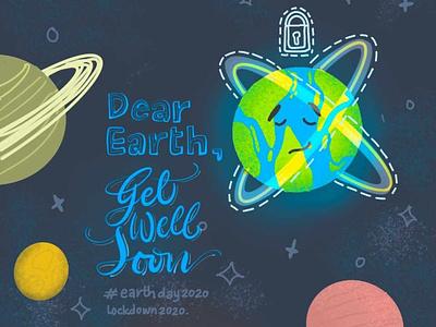 Earth Day 2020 procreate apple pencil design designer illustration corona save protect universe planets lockdown earthday2020 earth earthday