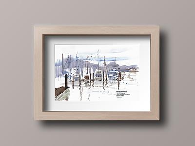 Reflections at Sausalito california sausalito painting watercolor illustration