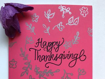 Thanksgiving handmade card calligraphy hand lettered thanksgiving day thanksgiving