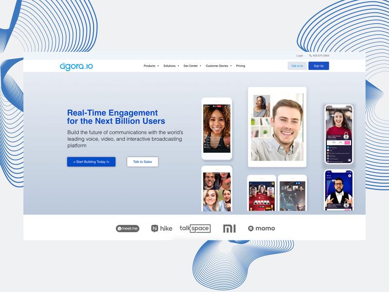 Website Design for Agora.io rtc video call voice call communication adobe photoshop designer website live website banner website design