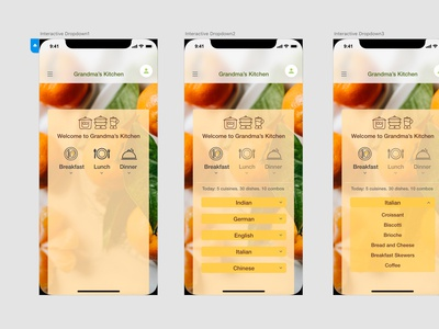 Dropdown menu for a food app