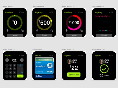 iWatch App for Payment ux design interaction design payment watch os apple watch minimal design modern app modern design appdesign iwatch