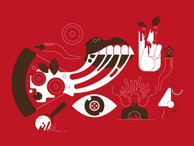 "Illustration for Pizzeria ""Verace Style"" pizza illustrator vector illustration"