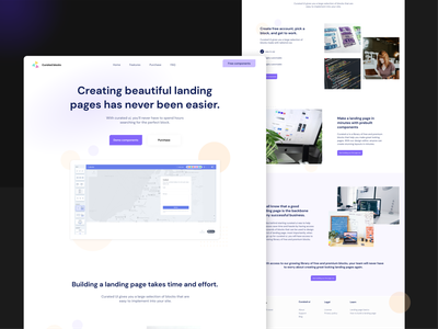 Landingpage design for curated blocks curated ui curated blocks landing page concept component website builder landing page design web designer lightmode design webdesign concept ux ui uidesign screendesign landing page landingpage