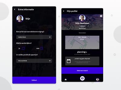 Social sport app design screendesign socialapp social sportapp app uidesign ux ui user interface darkui darkmode dark sport