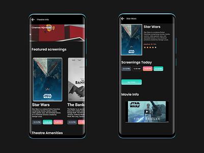 Cinema App appdesign info theatres wip darkapp cinema ui darkmode darkui concept dark app ux design uidesign screendesign