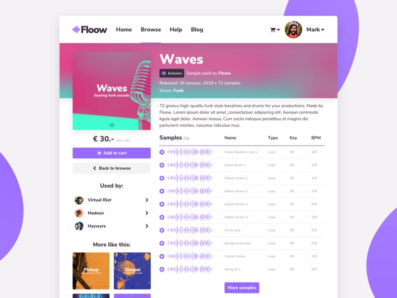 Product Page Design for conceptual sample store concept music sample desktop website web app branding ux design ui