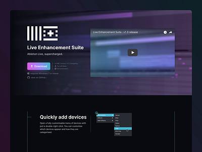 Live Enhancement Suite - Home Page design product web branding download landing sketch ableton hero music desktop website design