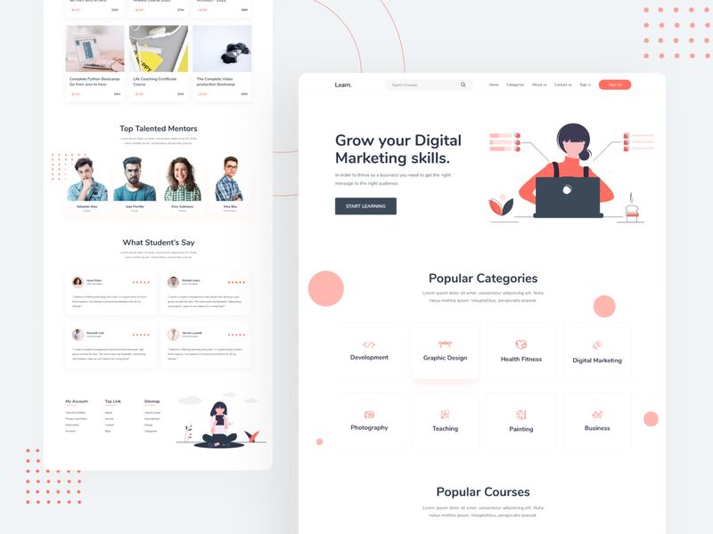 Online Courses - Landing Page Concept