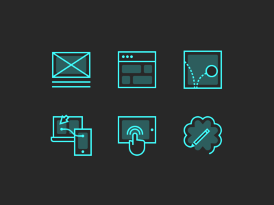 Skills Icons 64px interaction prototyping motion ui ux line vector skills icons