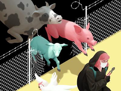 Cut the fences animal farm farm isometric illustration isometric activism animal lover animal veganism vegan personal project digital painting 2d photoshop illustration