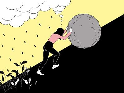 The absurd feminism art photoshop editorial clouds rain comic style comic struggle sysiphus lineart linework 2d illustration