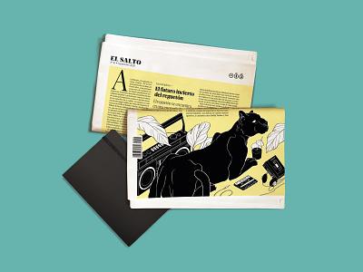 The Noise illustration 2d isometric editorial editorial illustration back cover music art artwork reggaeton black panther comic style