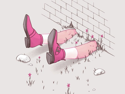 May texture dribbble graphic art art halftone wall pink witch faceless shoes line art illustration calendar 2019 may calendar