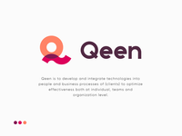 Logo for Qeen data stats analytics minimal geometric symbol q hr people technology business plogged connect overlap creative smart clever branding identity mark colorful bright beautiful logo