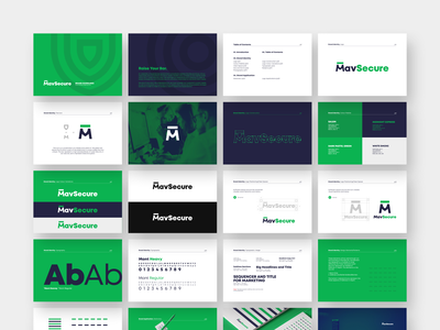 Brand Guidelines for MavSecure Group typography hierarchy m shield logo grid brand book plogged style guide typography green m logo brand guidelines cyber security