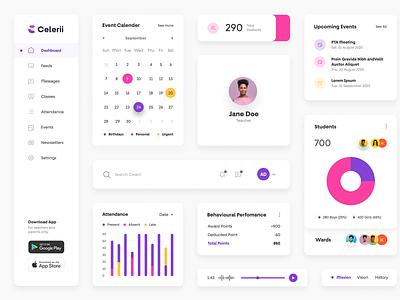 Celerii UI Components dashboard charts analytics data cards branding creative ux ui plogged app style guide logo pink purple tabs menu