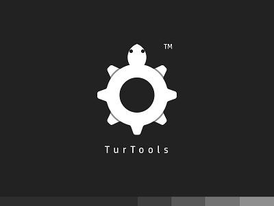 TurTools turtle tools plogged logo design creative cog clever branding app animal