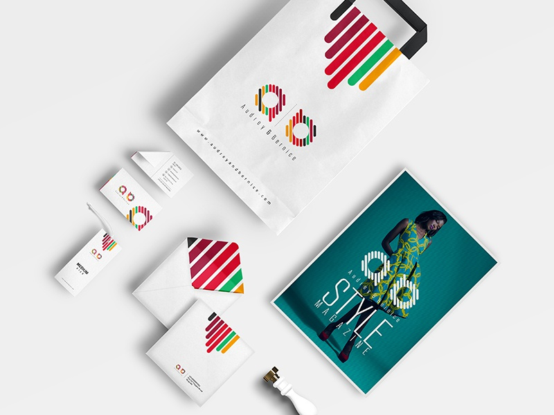 Audrey & Bernice Corporate Identity branding brand guide clothes bags magazine shoes business card beautiful corporate stationery plogged fashion logo