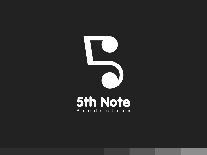 5th Note Production note five art studio clever production music creative plogged branding logo