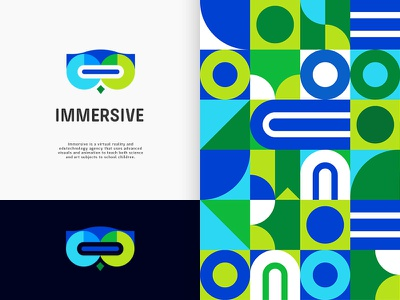 Immersive - Logo Option 2 (Coloured) branding technology open book cute wise headset owl animal bird typography i vr school class children creative smart clever virtual reality learn gradient story edutechnology colourful beautiful bright mark icon brand line logo brilliant immersive playful people portal visual plogged