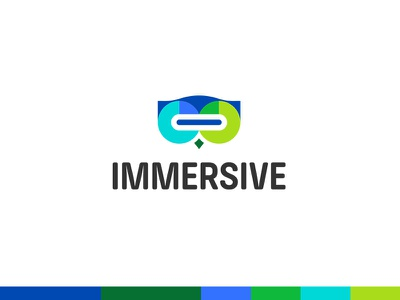 Immersive Identity portal visual plogged immersive playful people line logo brilliant mark icon brand colourful beautiful bright gradient story edutechnology virtual reality learn creative smart clever school class children typography i vr owl animal bird cute wise headset branding technology open book