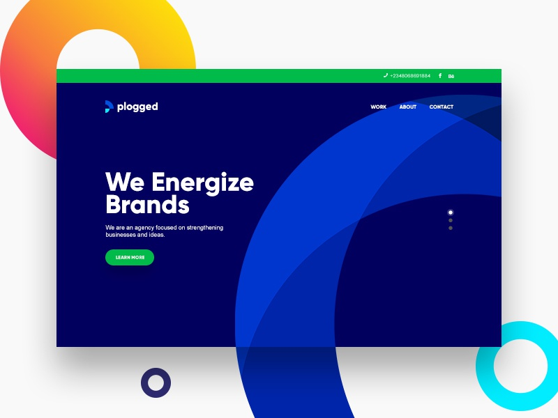 Plogged Website minimal clean corporate blue electric sun beautiful colorful gradient web website hero round energy orb landing page modern logo typography illustration ui ux interaction plogged branding agency