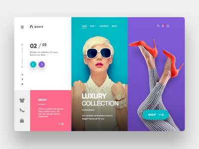Ruff Landing Page - Concept landing page concept beautiful colorful purple brand guide website colorful ux design ui bags clothes shoes branding corporate fashion logo plogged