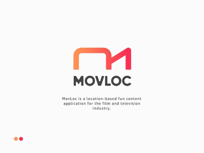Logo for MovLoc geometric social monogram branding identity mark logo icon app software bright abstract fun people location film m movie video gradient colorful beautiful clever smart creative plogged