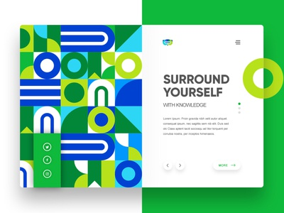 Landing Page for Immersive plogged knowledge surround virtual reality beautiful colourful website pattern animal owl vr education landing page green immersive ux ui