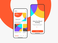 Lobab - Book Extract App Screen non-fiction fun easy reading book recommendation tab android iphone x mobile app circle colorful beautiful bright reading book extract landing page home screen app ui landing screen orange ui ux onboarding