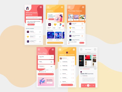 E-Learning App free clean ui ui design illustration uidesign ui skills udemy learning ecommerce online learning elearning