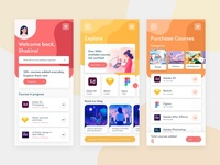 E-Learning App Closeup learning online course colorful colourful ecommerce clean ui ui free illustration uix ui design