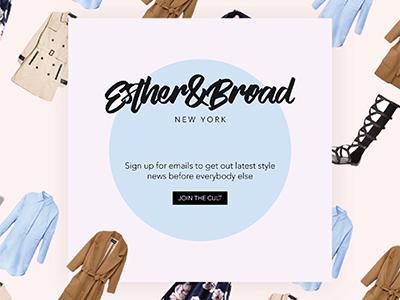 Newsletter/Social Media post for Esther&Broad