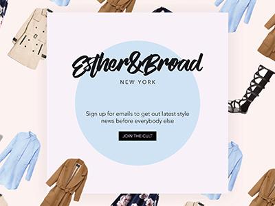 Newsletter/Social Media post for Esther&Broad fashion social media instagram insta post ui newsletter