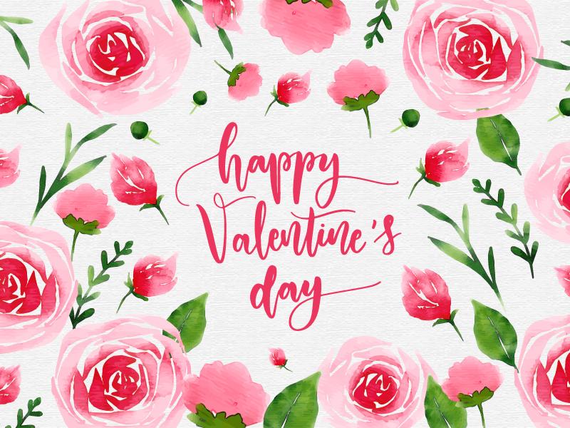 Valentine's! typography pink feminine valentines day watercolor valentine