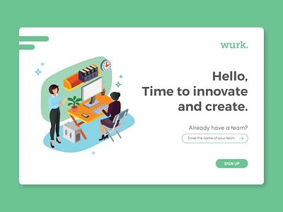 Wurk. Log In illustration isometric free log in design log in ui design uix ui