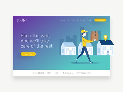 Landing Page UI for Swiftly illustration isometric free log in design landing page ui design uix ui