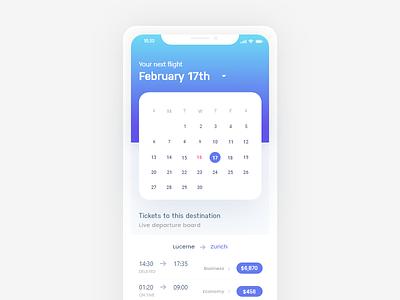 Ticket App calendar concept clean ui flight concept flight app ticket concept ticket app