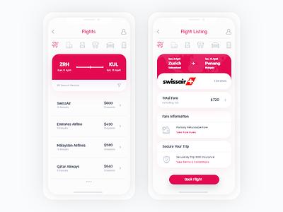 Travel + Booking App concept clean ui flight concept flight app ticket concept ticket app