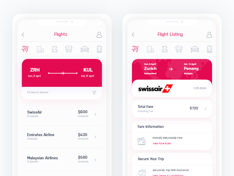 Closeup of Travel + Booking App concept clean ui flight concept flight app ticket concept ticket app