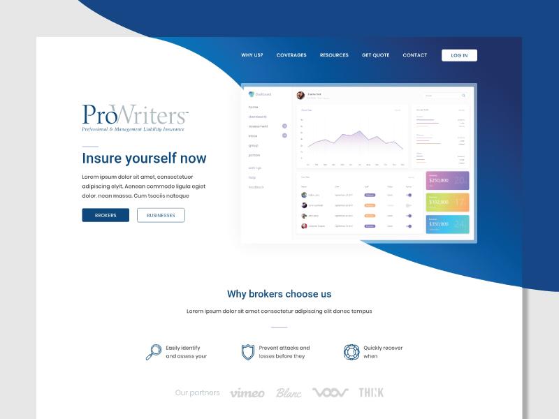 Prowriters Landing Page clean ui uix log in design landing page ui design ui