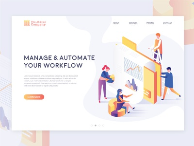 Abacus Company Services Page ui design logo branding landing page clean ui illustration ui