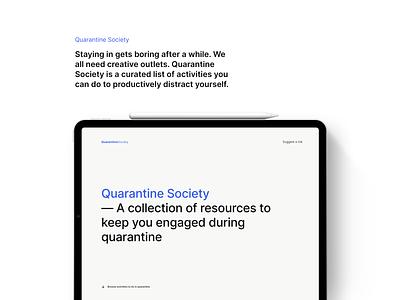 Quarantine Society webflow ux ui design side project free hobby tutorial video books coronavirus covid-19 typogaphy clean minimal website quarantine