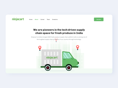 Ninjacart hero - about and careers page career about india supply chain agriculture farming farm logistics ux designs typogaphy website ui vector web illustration design simple minimal clean