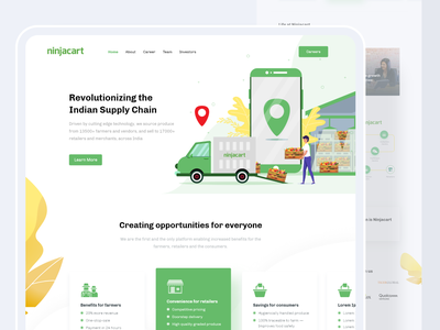 Home, about and career pages mobile simple clean minimal agriculture truck illustraion home screen homepage career about farmer farm supply chain logistics design ui ux website web